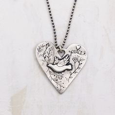 Heart Necklace with Dove | Little Bridget Jewelry Peace Dove, Precious Metal Clay, Pearl Chain, Calming, Sterling Silver Necklaces, Precious Metals, Cable, Scrap, Copper