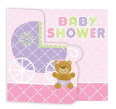Cash in on some savings if you�re planning a large baby girl shower with the 25 count Teddy Baby Shower Pink Invitations! The bulk package of gatefold style shower invites features a light pink cover with the headline �BABY SHOWER� in shades of pink, green, and lavender, along with an adorable baby teddy bear, and her big lavender baby carriage.  The bottom of the invitation features a candy pink border with a soft lattice pattern that coordinates with all the Teddy Baby Pink shower…
