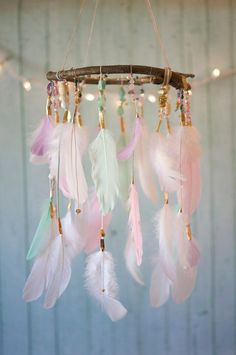 colourful feather mobile nursery decor 40 Adorable Nursery Decorating Ideas — RenoGuide - Australian Renovation Ideas and Inspiration Girl Nursery, Girls Bedroom, Bedrooms, Fancy Bedroom, Boho Nursery, Girl Rooms, Diy Room Decor, Nursery Decor, Nursery Ideas
