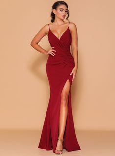 A beautiful full length dress by Les Demoiselle LD1124. A v-neck style featuring ruching throughout and thigh high split. Designer Formal Dresses, Formal Dresses Online, Formal Dresses For Women, Wine Bridesmaid Dresses, Bridal Dresses, Red Bridesmaids, Debutante Dresses, Cocktail Length Dress, Wedding Dress Shopping