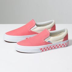 The Checker Sidewall Classic Slip-On features sturdy low profile slip-on canvas uppers, padded collars, elastic side accents, checkerboard sidewalls #women #shoes #footwear #shoe #sneakers