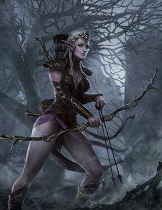 Elven tracker by on deviantart fantasy character/concept art in 2 Fantasy Warrior, Fantasy Girl, Fantasy Art Women, Warrior Girl, Warrior Princess, Fantasy Rpg, Dark Fantasy, Elfa, Fantasy Artwork