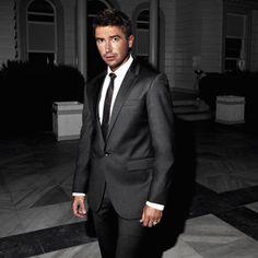 charcoal suit black tie | Groom | Pinterest | Charcoal suit, Black ...