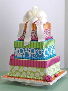 Stripes and Polka Dots Gift Boxes Cake