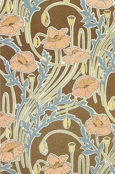 New art nouveau wallpaper textile design wall papers ideas Motifs Art Nouveau, Art Nouveau Flowers, Art Nouveau Pattern, Art Nouveau Design, Pattern Art, Pattern Designs, Design Art, Wall Design, Art Nouveau Wallpaper