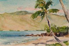 Vosberg Aceo Original Watercolor Charley Young Palm Tree Beach Kihei Maui Hawaii