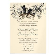 Rustic Cherry Blossom Love Bird Wedding Invitation