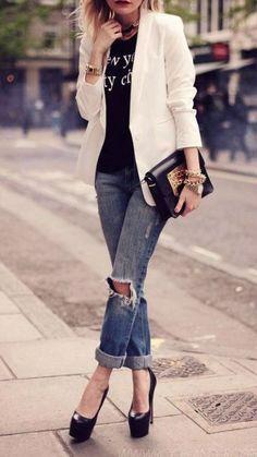 46 Ideas de moda para combinar con vaqueros Blazer