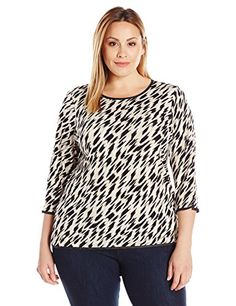 Calvin Klein Women's Plus-Size Three-Quarter-Sleeve Top with Piping