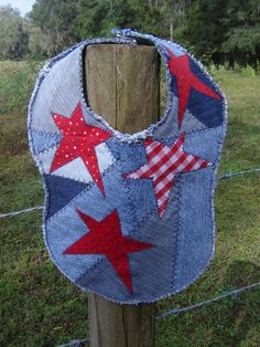 Crazy Quilt Denim - I like this look for quilt with stars! White and some red