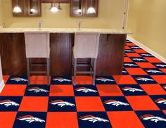 Superbowl 2014 - Denver Broncos NFL Carpet Tiles are the perfect flooring solution for your man cave or any room in your home!! Yay or nay?? #mancave #denver #broncos #nfl
