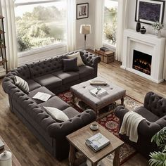 New living room furniture layout small 70 Ideas Family Room Design, Brown Living Room, Farm House Living Room, Livingroom Layout, Living Room Diy, Room Layout, Couches Living Room, Living Room Sectional, Room Design