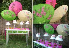 ideas for a kokeshi dessert party table Japanese Birthday, Japanese Party, 10th Birthday Parties, Birthday Party Themes, Umbrella Decorations, Table Decorations, Oriental Wedding, Asian Party, Japanese Festival