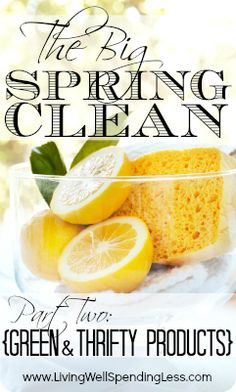 The Big Spring Clean, Part 2:  Green & Thrifty Cleaning Products.  10 recipes for homemade cleaners using just 10 different common household ingredients. (Includes FREE printable chart for making all 10!)