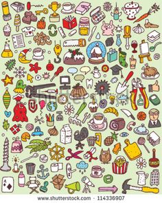 cartoon  patterns   Big Doodle Icons Set : collection of numerous small hand-drawn ...