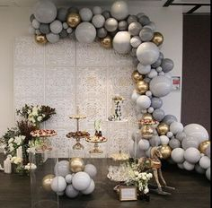 🎈🎈 These are not your grandmas balloons ! Preorder solid latex balloons and a garland kit for DIY projects or a premade arch garland with a color scheme of your choice 🍭🍭🍭 rentals Deco Baby Shower, Gold Baby Showers, Baby Shower Balloons, Baby Shower Parties, Bridal Shower, Baby Shower Balloon Decorations, Shower Party, Silver Party Decorations, Birthday Party Decorations