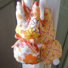 Orange Retro Bunny Plush Easter Decoration / Door Hanger - Try Handmade Gallery - Free Handmade Advertising