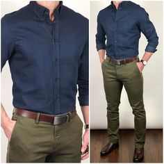 Do you guys like this 🔵 blue and 🐊 olive green color combination❓ Shoes: Chocolate Broadway Belt: Chocolate Vegetable Tanned strap Pants and shirt: Green Shirt Outfits, Olive Green Pants Outfit, Green Pants Men, Green Chinos, Blue Shirt Outfit Men, Khaki Pants, Chinos Men Outfit, Blazer Outfits Men, Elegantes Business Outfit