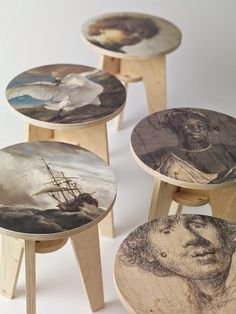 Print Plywood Stool by Piet Hein Eek for NLXL LAB is introduced at Dutch Design Week Eindhoven. Available in 10 prints, designed and manufactured by Piet Hein Eek. Artwork courtesy of Rijksmuseum Amsterdam. Plywood Furniture, Painted Furniture, Diy Furniture, Furniture Design, Furniture Layout, Wood Stool, Wood Table, Wood Design, Wood Print