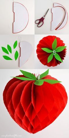DIY fraise en papier alveolé - DIY honeycomb strawberry - DIY fresa nido de abeja
