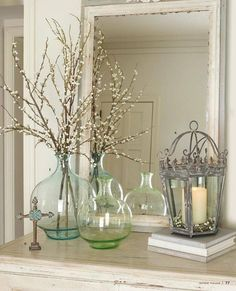 Lady Jane Vases and Monarch Lantern from Willow House Willow House, Deco Nature, Colored Vases, Clear Vases, Vases Decor, Centerpieces, Home Accents, Green Accents, Farmhouse Decor