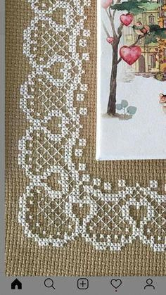 Lovely floral/roses cross stitch embroidered tablecloth in white linen from Sweden Simple Cross Stitch, Cross Stitch Rose, Cross Stitch Borders, Cross Stitch Alphabet, Cross Stitch Flowers, Cross Stitch Designs, Cross Stitching, Cross Stitch Patterns, Hardanger Embroidery