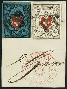 "Switzerland poste locale 2 1/2 Rp. black / red, without framed cross, fresh colors and on all sides good margins in perfect condition, removed for quality control, in combination with 5 Rp. deep black / red / dark blue, Rayon I without framed cross, slight Klebefalten, on attractive piece with black St. Galler ""P. P. "" with additional red postmark ""St. Gallen"", an attractive combination Dealer Gert Müller Auctions  Auction Minimum Bid: 1000.00 EUR"