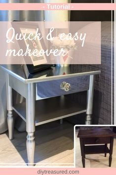 Gorgeous bedside table makeove from thrift to treasure! Must try this!! Just Beautiful! #makeover #diy #furniture | silver | diy project ideas on a budget | furniture makeover | thrift store to treasure | classy | mirrored | nightstand | diy projec