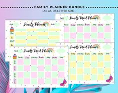 Weekly Family Schedule and Meal Planner available at TupalArt Etsy shop🌺 Family Schedule, Family Planner, Weekly Schedule, Meal Planner, Sticker Organization, Organization Hacks, Printable Planner, Planner Stickers, Letter Size