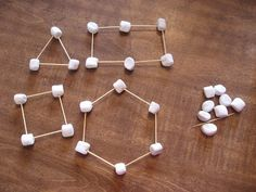 Great idea for teaching students about shapes. Use toothpicks as the sides and marshmallows as the vertices.