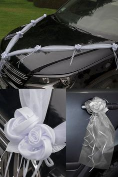Autodeko-Set 2 Rosen  - weiß  von Braut(Zilla) auf DaWanda.com