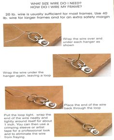 How to wire a frame. Picture Hanging Tips, Hanging Pictures, Picture Frames, Hanging Frames, Hanging Wire, Hanging Paintings, Art Studio At Home, Large Frames, Art For Art Sake