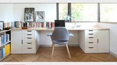 Idea about Home Office Table : Use Ikea VIKA ALEX units (two with drawers and two with doors) with wood planks on top Ikea Office, Ikea Desk, Diy Desk, Ikea Alex Desk, Ikea Drawers, Office Workspace, Office Spaces, Workspace Design, Office Table
