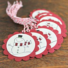 These little snowman gift tags will add that special touch to your holiday gifts and treats. Hand punched, rubber stamped, then colored by hand - these little guys have a lot of character! Set of They measure 1 in diameter. Bakers twine is included Creative Christmas Gifts, Diy Christmas Cards, Christmas Paper, Christmas Projects, Xmas Gifts, Christmas Themes, Christmas Wrapping, Diy Gifts, Handmade Gifts