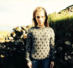 Shisa Brand handknitted rock-sweater 100% wool, soft, light and lovely