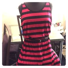NWT Fever Pink Black Stripe Maxi Dress w/belt Super cute pink/blk maxi dress w/side slit (see pic) and braided leather look belt by Fever. Machine washable and flattering fit. Size small but will also fit a Medium. Still has tags as I got pregnant and never wore. Bundle & Save! $ Fever Clothing Dresses Maxi