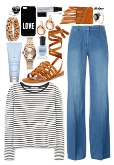 """Striped Shirt: Contest Entry"" by isquaglia ❤ liked on Polyvore featuring SUSU, MANGO, MICHAEL Michael Kors, Gianvito Rossi, STELLA McCARTNEY, Givenchy, Pomellato, Nixon, Drybar and Laura Mercier"