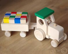 Wooden Tractor With Trailer, Wooden Blocks, Wooden Toy, Tractor With Blocks
