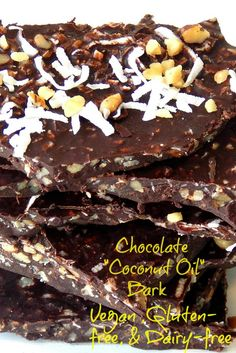 "Good For You ""Coconut Oil"" Chocolate Bark. Vegan, Gluten-Free, and Dairy- Free. Addicting delicious healthy chocolate. www.thisolemom.com"