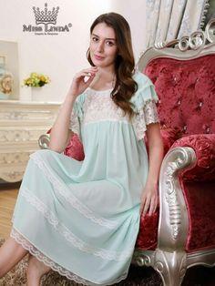 New MISS LINDA Summer Collection - Silk Elegance Long Nightie