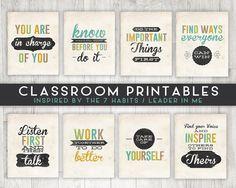 Classroom Printable Posters 7 Habits Inspired Leader in Me Classroom Organization, Classroom Management, Classroom Decor, Chalkboard Classroom, Classroom Walls, Classroom Community, Kindergarten Classroom, Organizing, Leader In Me