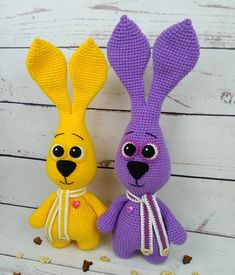 FREE crochet bunny pattern Let's crochet a purple bunny amigurumi! With this free crochet pattern by Iriss you will get a bunny about 40 cm Easter Crochet Patterns, Crochet Bunny Pattern, Crochet Rabbit, Crochet Motifs, Free Crochet, Free Knitting, Crochet Patterns Amigurumi, Crochet Dolls, Amigurumi Toys