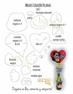 Corazón Pelanas molde 1/2 Ideas Para, Doodles, 2d, Notebook, Animals, Amor, Felt Toys, Creative Crafts, Donut Tower