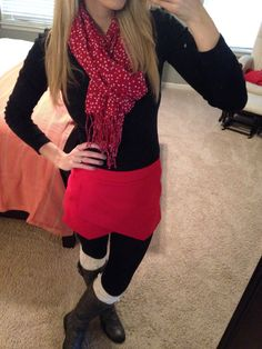 Trying to get into the holiday spirit by adding some bright red to my outfit ;) I'm obsessed with these bright red shorts!! #express shorts #oldnavy scarf #gap t-shirt #target sweater tights #charl...