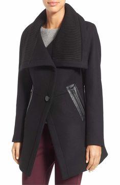 Main Image - Trina Turk 'Maddi' Knit Collar Cutaway Wool Blend Coat