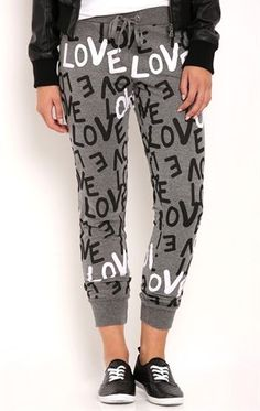 Deb Shops Love Graffiti Print Jogger Pants $12.60