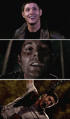 [SET OF GIFS] Dean Winchester in Heaven, Purgatory, and Hell.  5x16 Dark Side of the Moon, 8x02 What's Up, Tiger Mommy?, and 3x16 No Rest for the Wicked