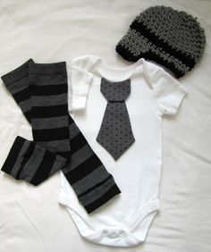 Baby boy tie onesie/body suit, leg warmer and crochet hat set, gray and black, stripes and polka dots, photo prop, Baby Fashion. $29.95, via Etsy.