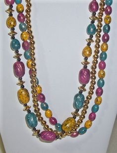 Colorful vintage beaded necklace great colors teal, mauve