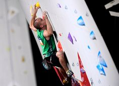 Austria's Max Rudigier competes during the qualification men lead round at the indoor World Climbing and Paraclimbing Championships on September 15 at the Accor Hotels Arena in Paris. World Championship, Austria, Climbing, September, Hotels, Indoor, Paris, Men, Interior